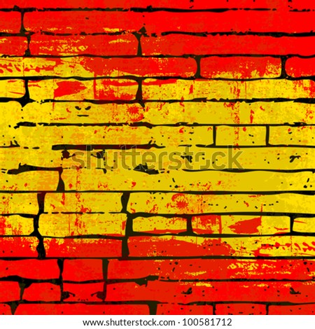 Grunged Spanish Flag over a brick wall  background  illustration - stock vector