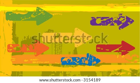 grungy arrows - stock vector