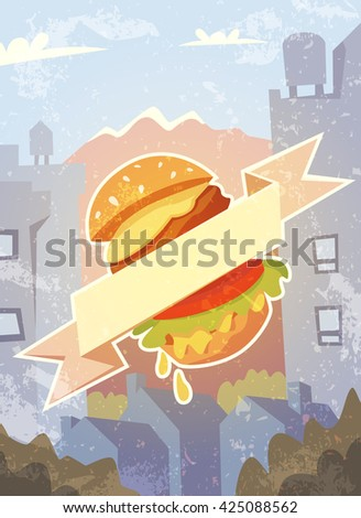 Grungy background with burger and ribbon. Vector illustration. - stock vector