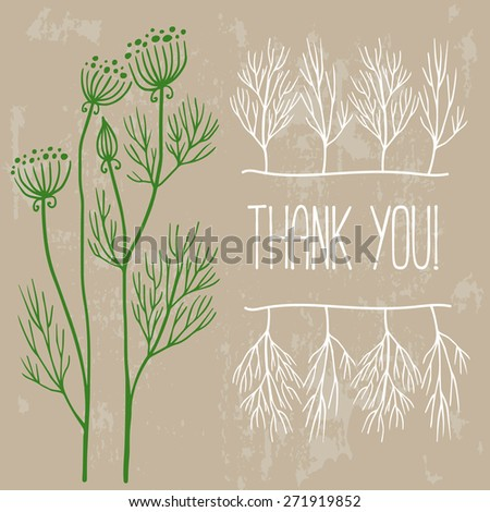 Grungy background with dill - stock vector