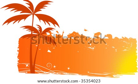 Grungy background with palm trees and halftone elements