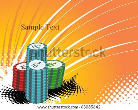 grungy background with stacks of poker chips - stock vector