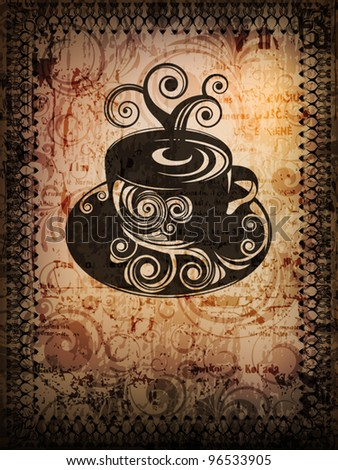 grungy banner with coffee cup and space for text. eps10 vector - stock vector