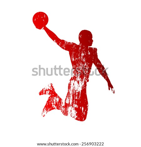 Grungy basketball player - stock vector