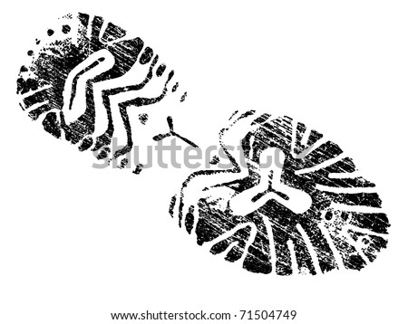 Grungy BootPrint - Highly detailed vector of a mountain boot- transparent vector so it can be overlaid onto other graphic elements - stock vector