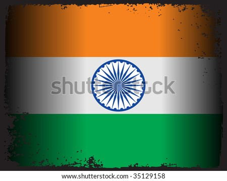 grungy border with indian national flag, vector illustration