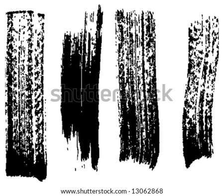Grungy brush strokes set - stock vector