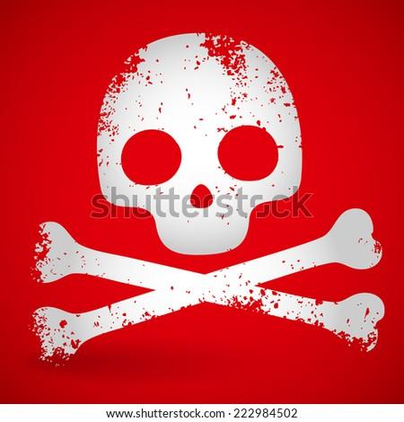 Grungy cartoon skull on red. - stock vector