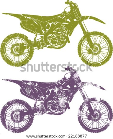 Grungy Dirt Motocross cycles - stock vector