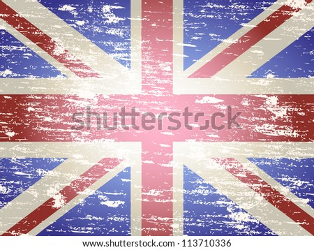 Grungy faded and distressed Union Jack flag background - stock vector