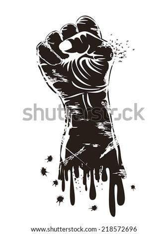 grungy fist power - stock vector