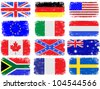 Grungy flag illustrations of the USA, Great Britain, South Africa, Australia and various European countries - stock photo