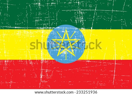 grungy Flag of ethiopia