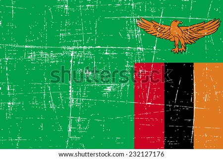 grungy Flag of Zambia - stock vector