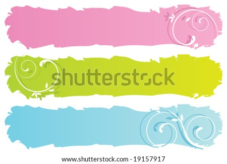 grungy floral banners, vector illustration