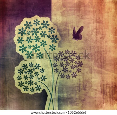 grungy floral design vector background - stock vector