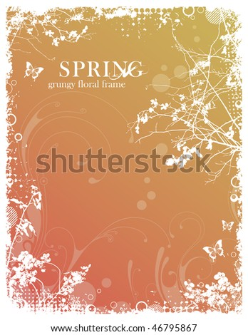 grungy floral spring frame with foliage and halftone elements - stock vector
