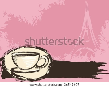 Grungy French coffee background(vector); a JPG version is also available - stock vector