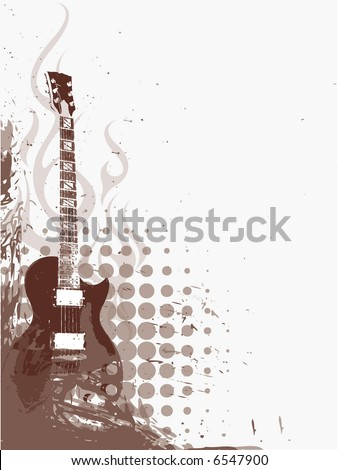 grungy guitar - stock vector