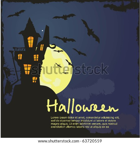 grungy Halloween background with haunted house, bats and full moon - stock vector