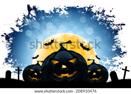 Grungy Halloween Background with Moon, Pumpkin and Cemetery - stock vector