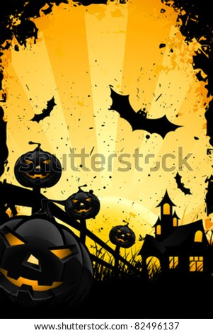 Grungy Halloween background with pumpkins  bats house and full moon - stock vector