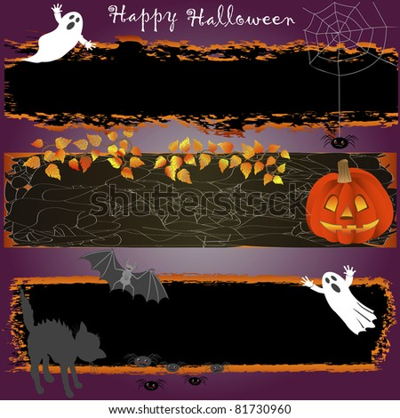Grungy halloween banners with pumpkin, spooky and cat. vector.