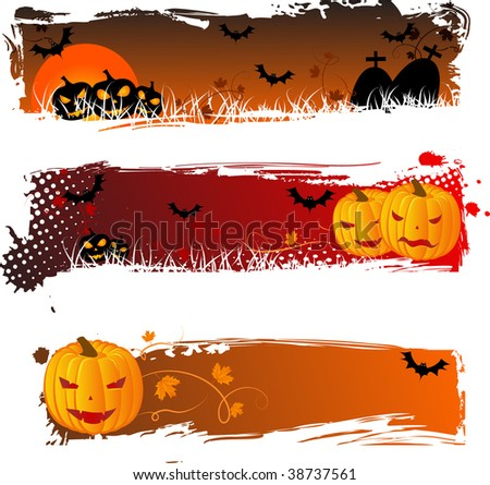 Grungy halloween banners with pumpkins for your design