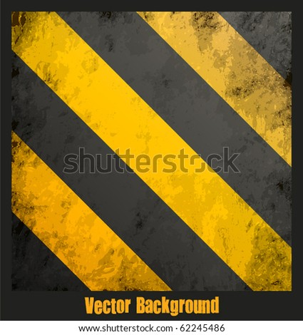 Grungy hazard stripes texture. Vector illustration - stock vector