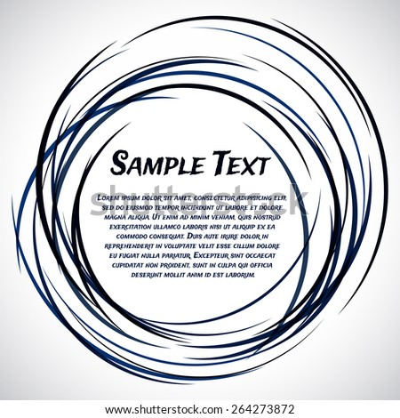 Grungy ink doodle frame for text. Dark blue lines like ink on a light background. Vector background for inscriptions. 