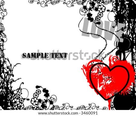 grungy love-vector- - stock vector