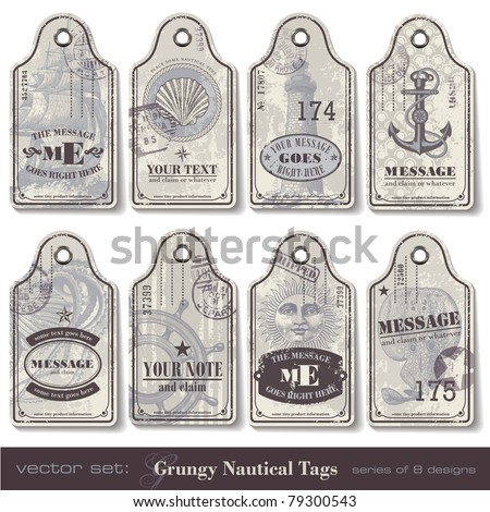 grungy nautical tags - series of eight designs - stock vector
