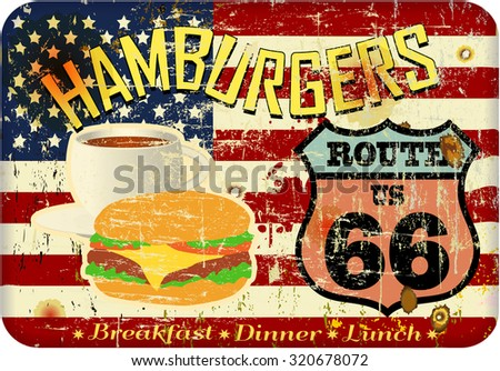 grungy, nostalgic route sixty six hamburger or diner sign, fictional artwork, vector format - stock vector