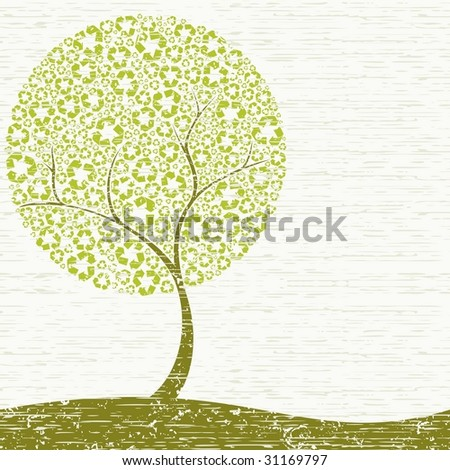 Grungy Recycling-tree concept (vector); a JPG version is also available - stock vector