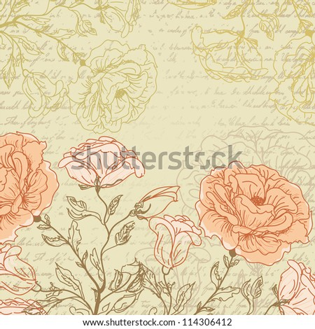 Grungy retro background with roses sketch - stock vector