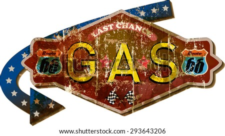 grungy retro route sixty six gas station sign,fictional design, vector illustration - stock vector