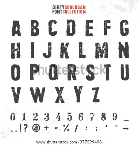 Grungy Rubber Stamp Font Vector Alphabet With Numbers And Symbols