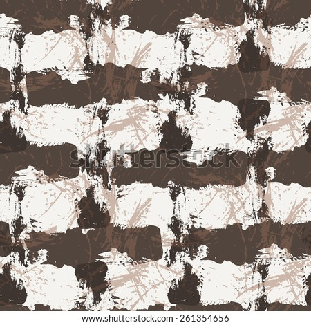 Grungy seamless patterns of strokes made with a brush and paint - stock vector