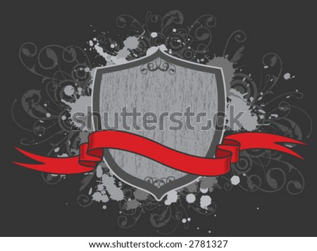 grungy shield with red ribbon (ALL VECTOR) - stock vector