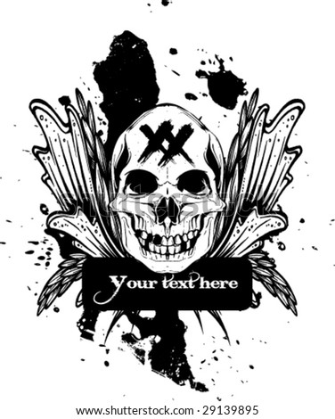 grungy skull design vector with some space for text - stock vector
