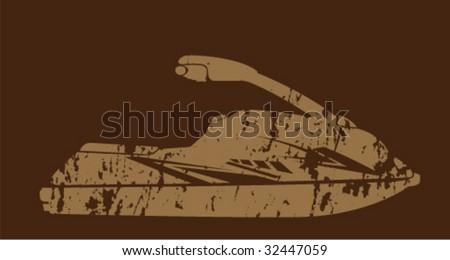 Grungy Sporty Jet Ski - stock vector