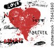 Grungy style love concept - stock vector