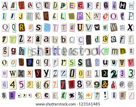 Grungy torn paper font vector. Multiple variations of upper and lower case letters, numbers and symbols