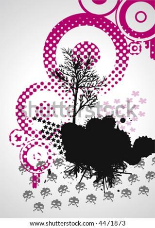 Grungy Tree, vector - stock vector