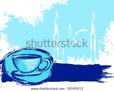 Grungy Turkish coffee background(vector); a JPG version is also available - stock vector