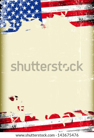 Grungy US flag. A poster with a large scratched frame and a grunge flag of united states for your publicity.  - stock vector