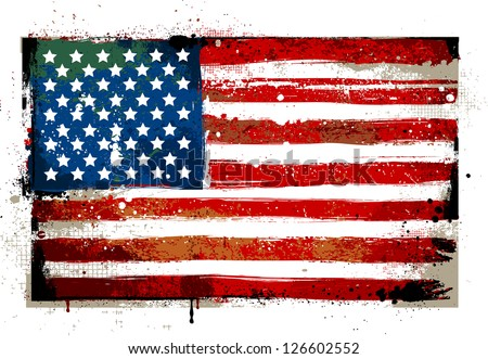 Grungy USA flag. EPS 8 vector illustration. - stock vector