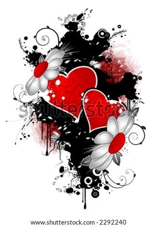 Grungy valentine - stock vector