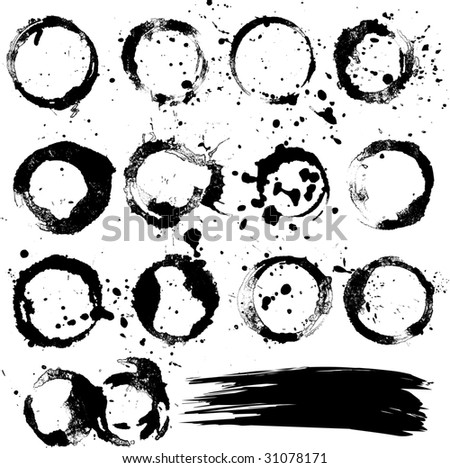 Grungy vector stains and elements - stock vector