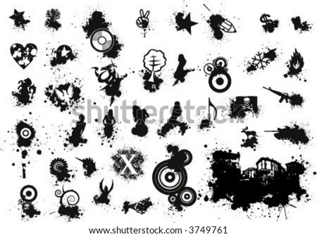 grungy vector value pack Vol. 1 - stock vector